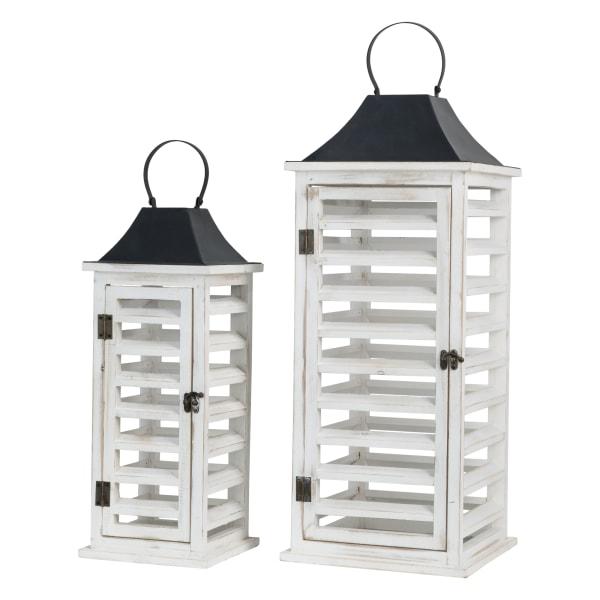 Set of 2 Wash White Farmhouse Wooden Shutter Lanterns