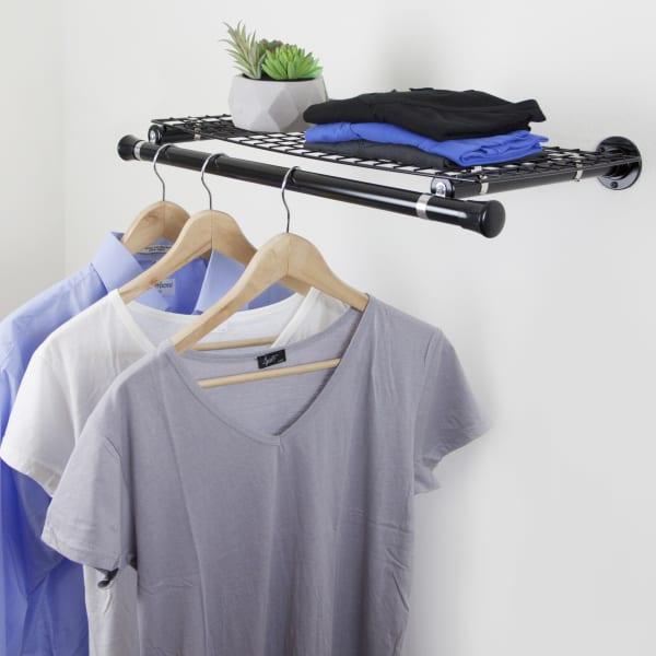Wall Mount Single Wire Shelf with Hanger, Black