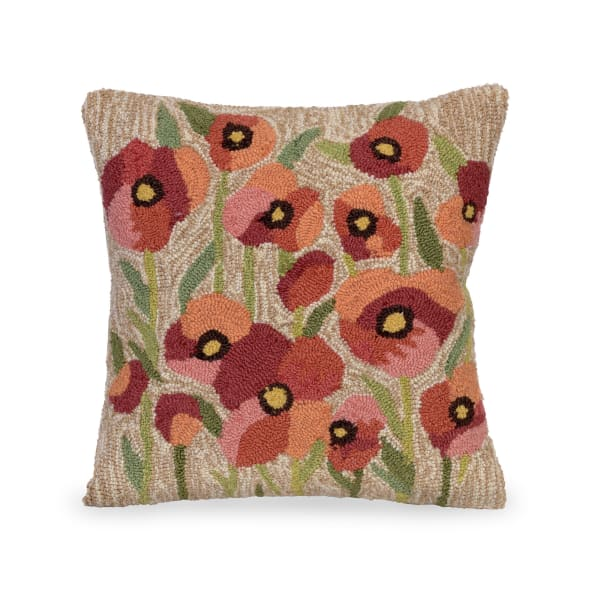 Poppies Outdoor Pillow Neutral