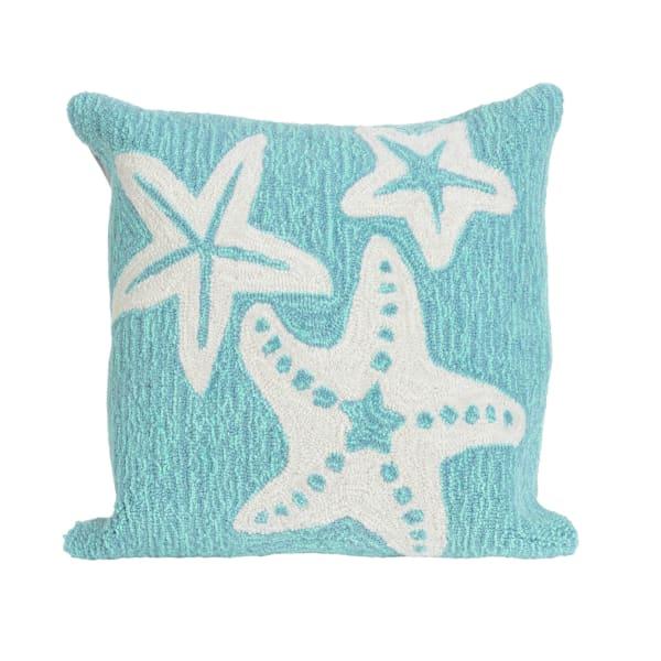 Starfish Aqua Outdoor Pillow
