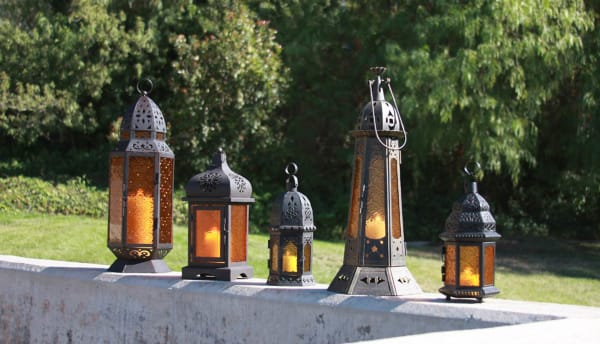 Decorative Etched Amber Glass Moroccan Style Hanging Candle Lantern