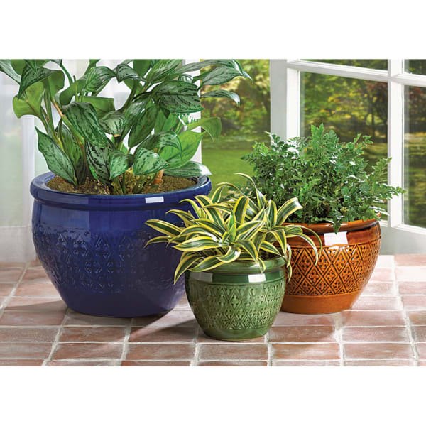 Jewel-Tone Flower Pot (Set of 3)