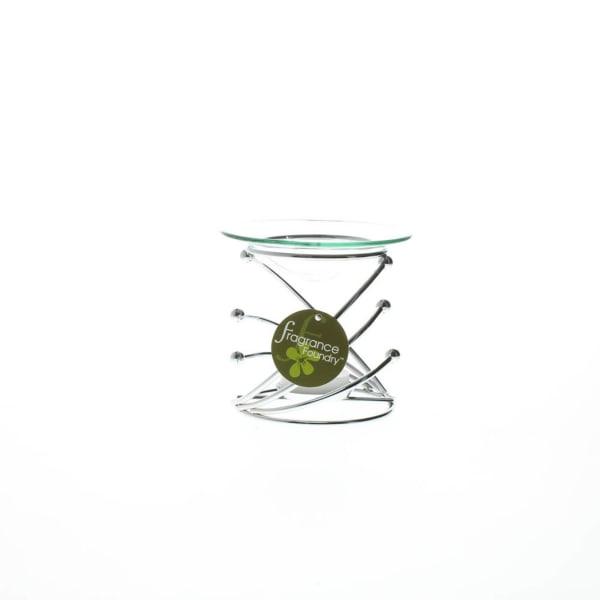 Modern Swirl Metal and Glass Candle Oil Warmer