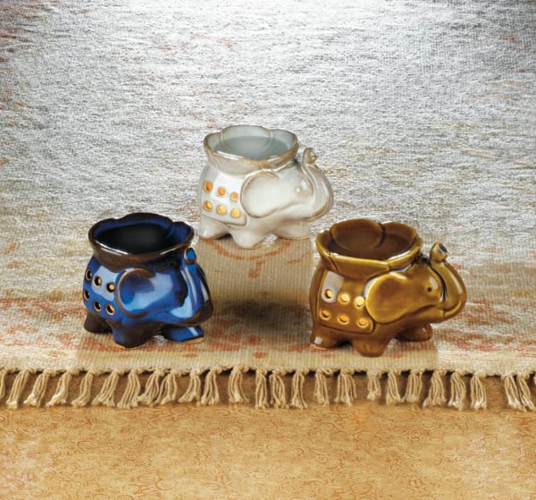 Multicolored Minimalistic Porcelain Elephant Candle Oil Warmers (Set of 3)