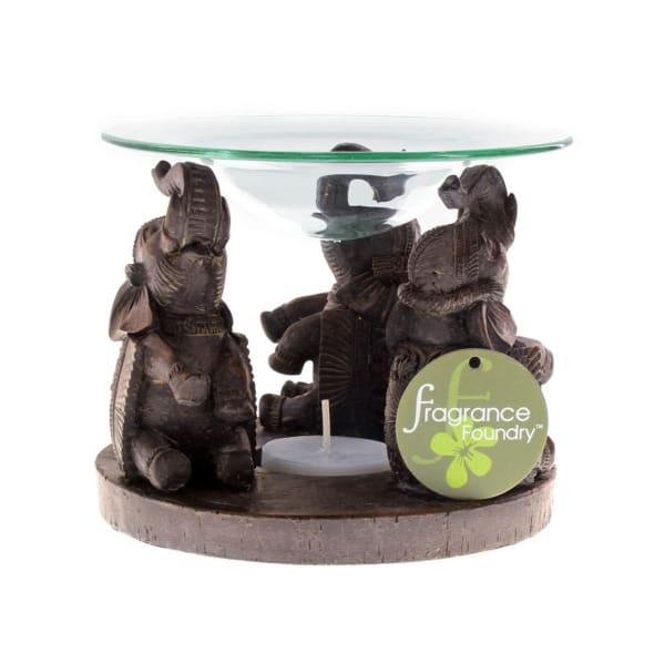 Ornate Elephant Triad Candle Oil Warmer