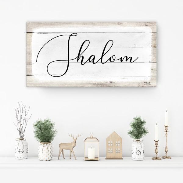 Shalom II White Hanukkah Canvas Wall Art
