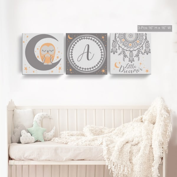 Little Dreamer 3-Pc Canvas Monogram Nursery Wall Art Set - M