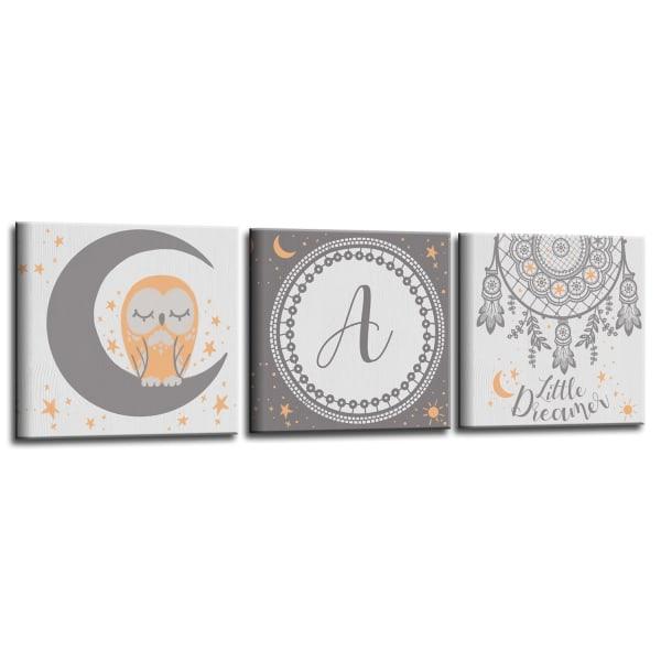 Little Dreamer 3-Pc Canvas Monogram Nursery Wall Art Set - S