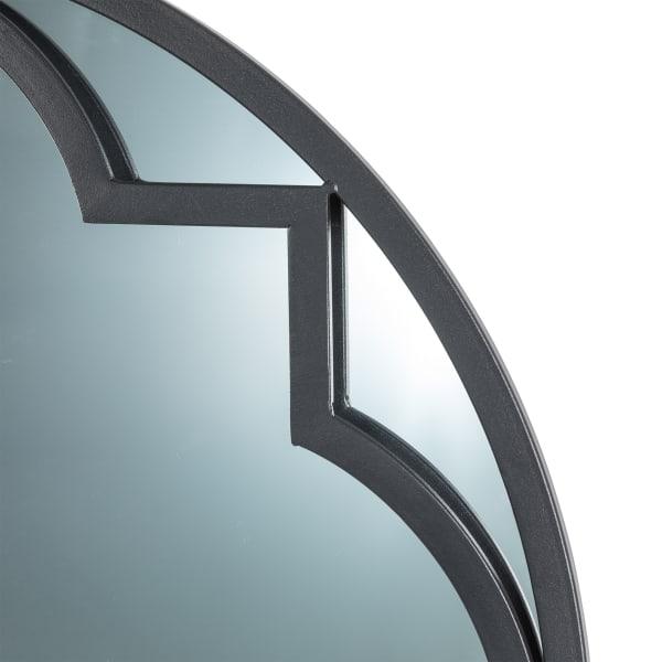 Black Metal/Glass Round Wall Mirror