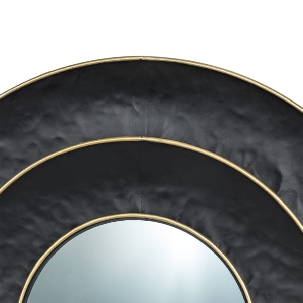 Black With Golden Trimming 3D Round Metal Wall Mirror
