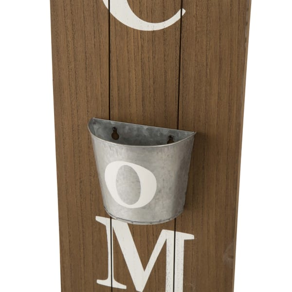 Wooden WELCOME Porch Sign with Metal Planter