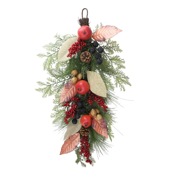 Autumn Harvest Mixed Berry and Pine Needle Artificial Teardrop Swag - Unlit