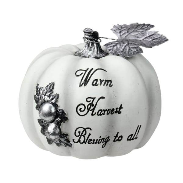 White and Black Warm Harvest Blessing Thanksgiving Table Top Pumpkin