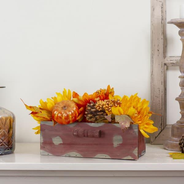 Autumn Harvest Maple Leaf and Berry Arrangement in Rustic Wooden Box Centerpiece