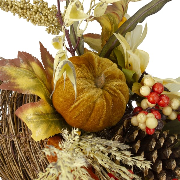 Fall Harvest Sunflower and Pumpkin Cornucopia Decoration