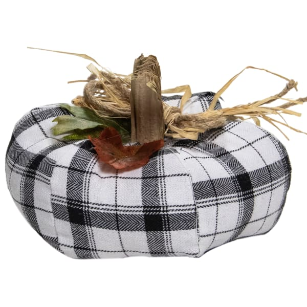 Black and White Fabric Fall Harvest Tabletop Pumpkin