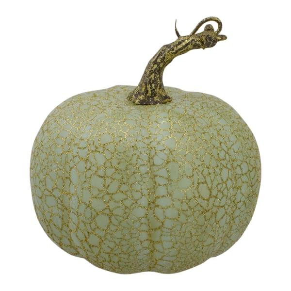 Set of 2 Green Fall Harvest Tabletop Pumpkins