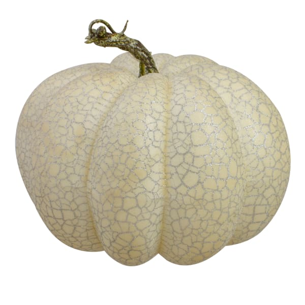 Set of 2 White and Black Fall Harvest Tabletop Pumpkins