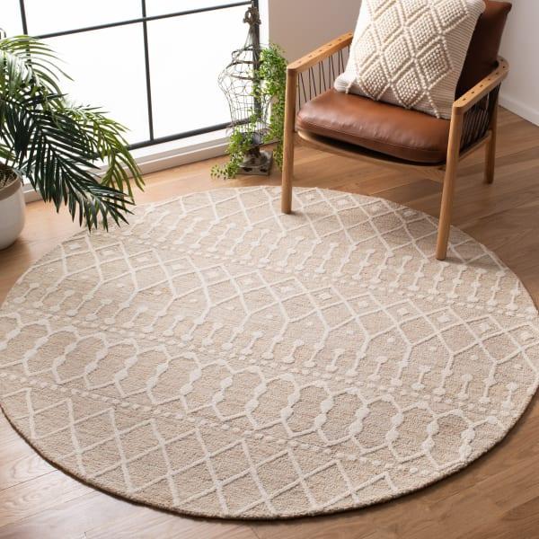 Tan Wool Rug 8' Round