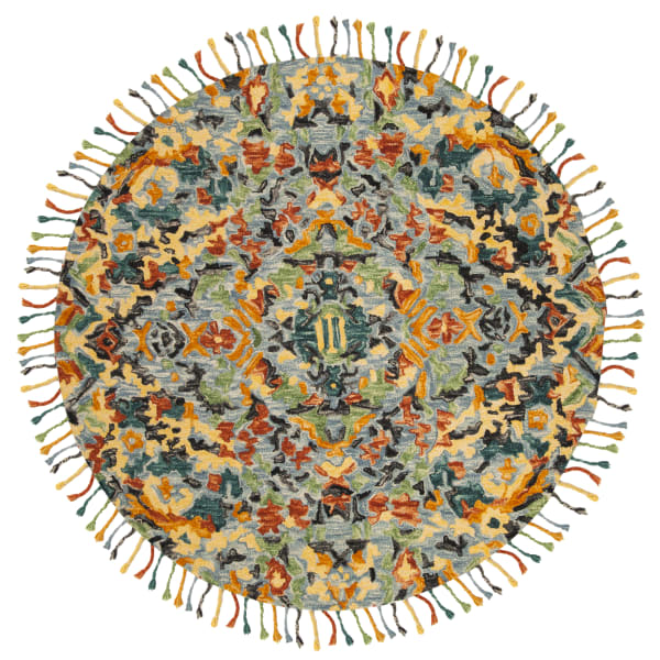 Blue Wool Rug 4' Round