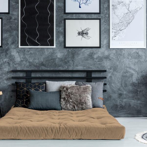 Khaki Single Foam Twin Futon 75 x 39 in Tan Mattress