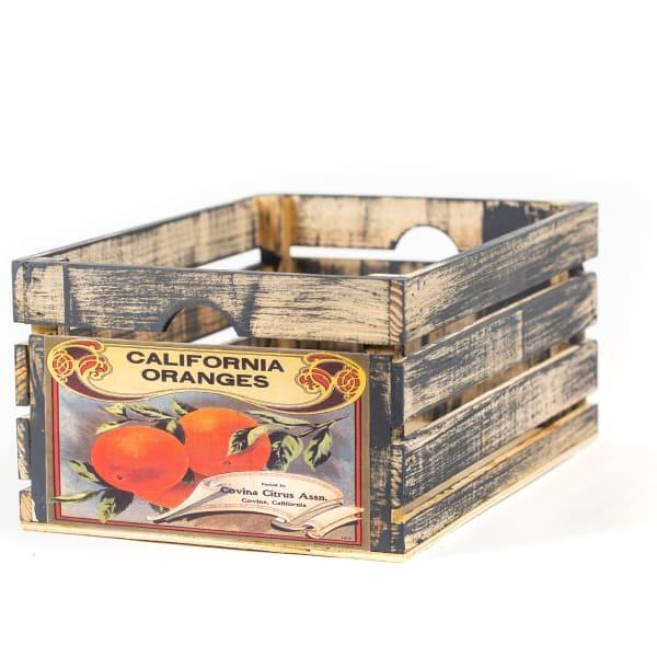 Vintage-Style Wood Fruit Crate California Oranges