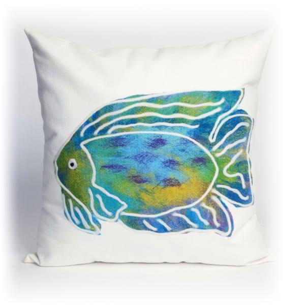 Batik Fish Aqua Outdoor Pillow