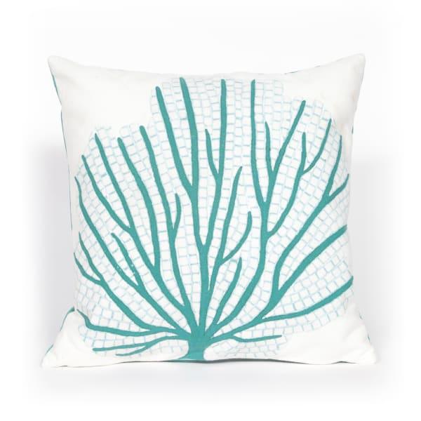Coral Fan Aqua Outdoor Pillow