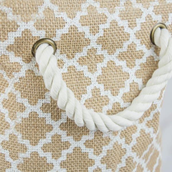 Burlap Bin Lattice White Rectangle Medium 16x10x12