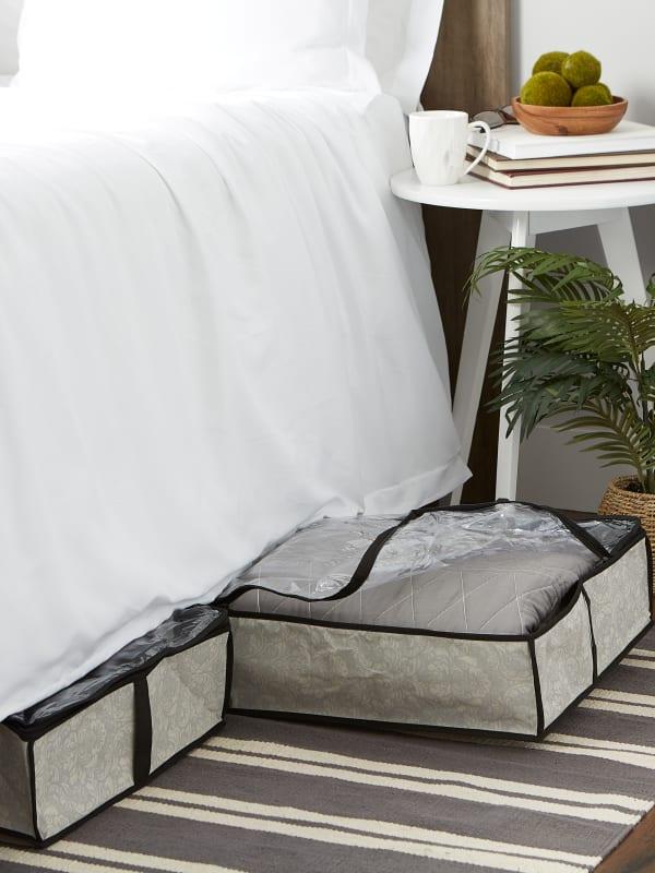 Medium Damask Under-The-Bed Soft Storage  (Set of 2)