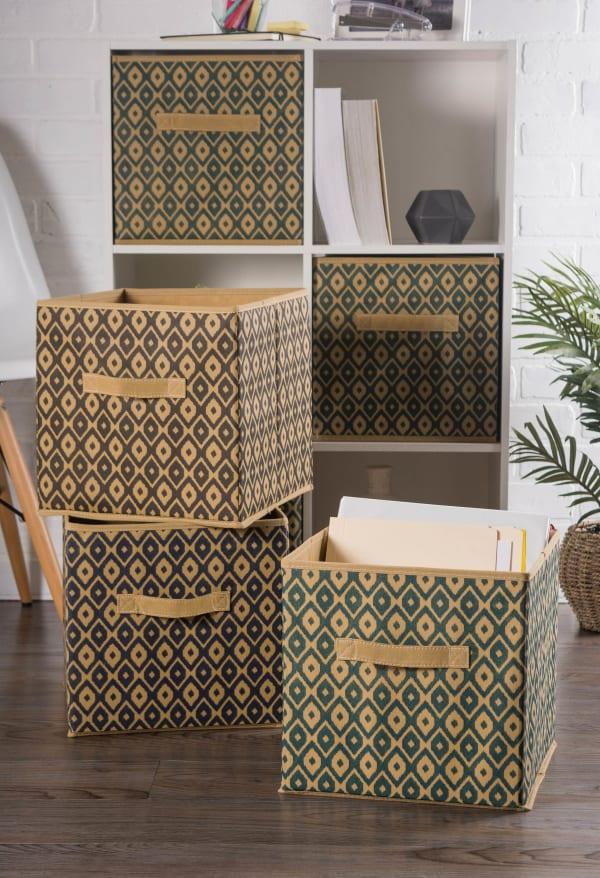 Nonwoven Polyester Cube Ikat Nautical Blue Square 11x11x11 Set/2