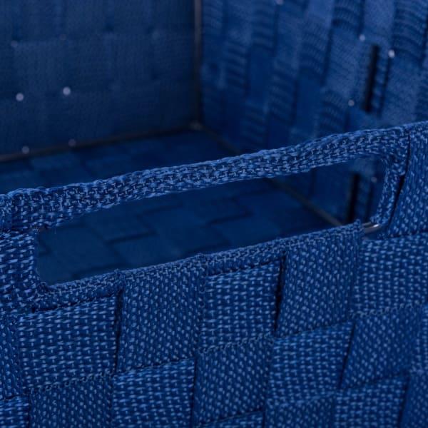 Nylon Bin Basketweave Navy Trapezoid 13x15x5 Set/2