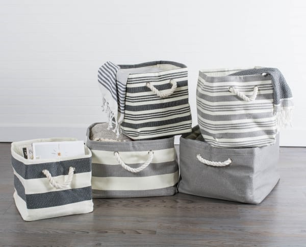 Paper Basket Solid Gray Rectangle Large 17x15x12