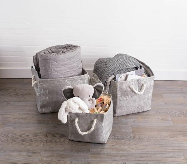 Lurex Gray/Silver Rectangle Bin 17x12x12