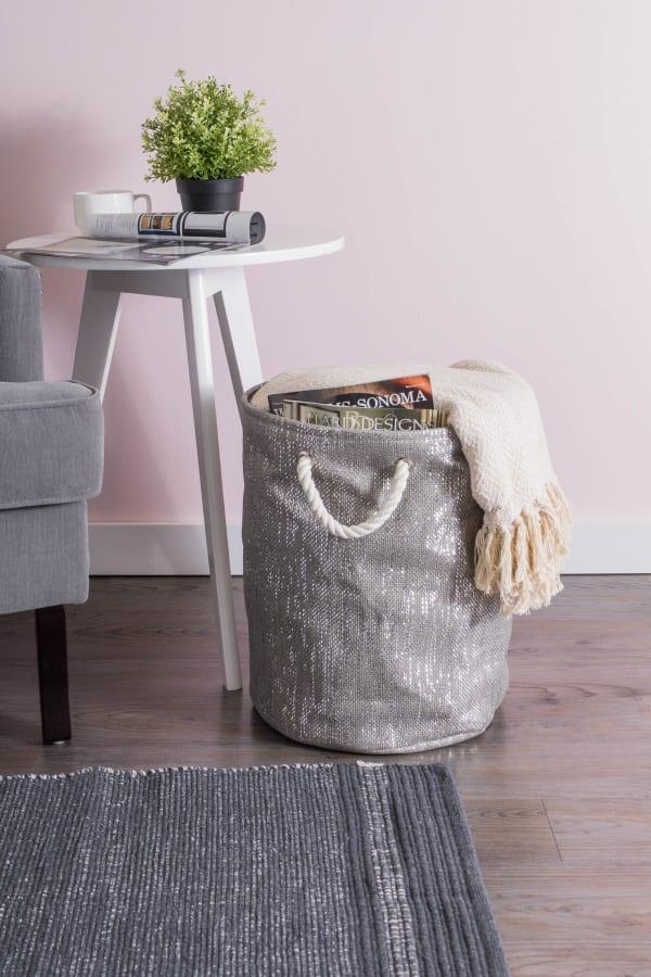 Paper Bin Lurex Gray/Silver Round Medium 13.75x13.75x17
