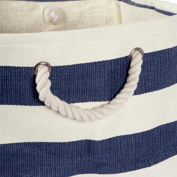 Paper Bin Stripe Nautical Blue Rectangle Medium 15x10x12
