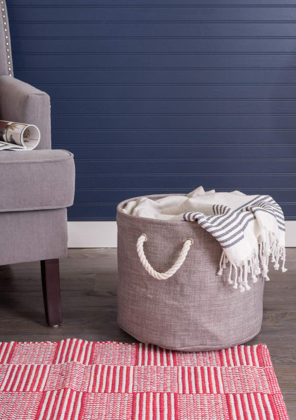 Polyester Bin Variegated Gray Round Small 9x12x12