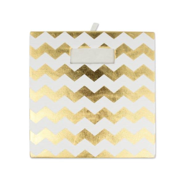 Polyester Cube Chevron Gold Square 11x11x11