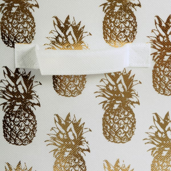 Set of 2 White & Gold Pineapple Storage Cubes