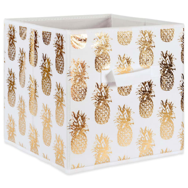 Nonwoven Polyester Cube Pineapple White/Gold Square 13x13x13 Set/2