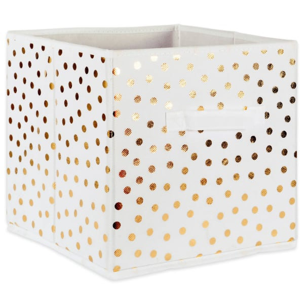 Nonwoven Polyester Cube Small Dots White/Gold Square 11x11x11 Set/4