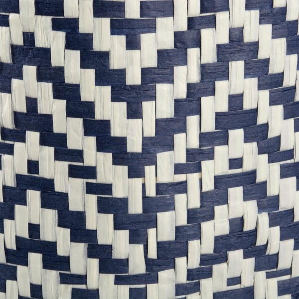 Paper Bin Chevron Nautical Blue Round Medium 13.75x13.75x17
