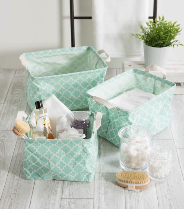 PE-Coated Cotton/Poly Laundry Bin Lattice Aqua Rectangle Assorted Large (Set of 2)