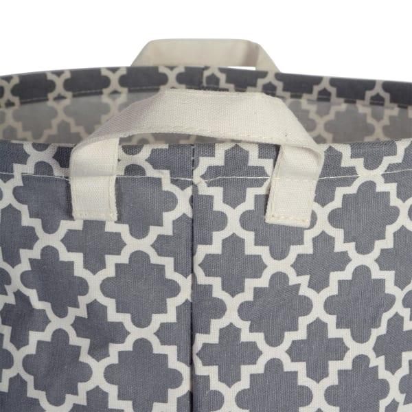 PE-Coated Cotton/Poly Laundry Bin Lattice Gray Rectangle Large 10.5x17.5x10 Set/2