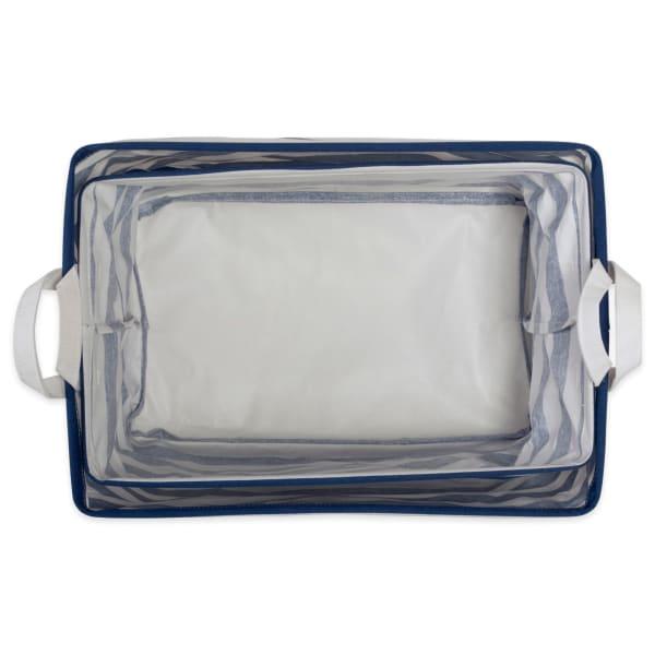 PE-Coated Cotton/Poly Laundry Bin Stripe Nautical Blue Rectangle Assorted Large (Set of 2)