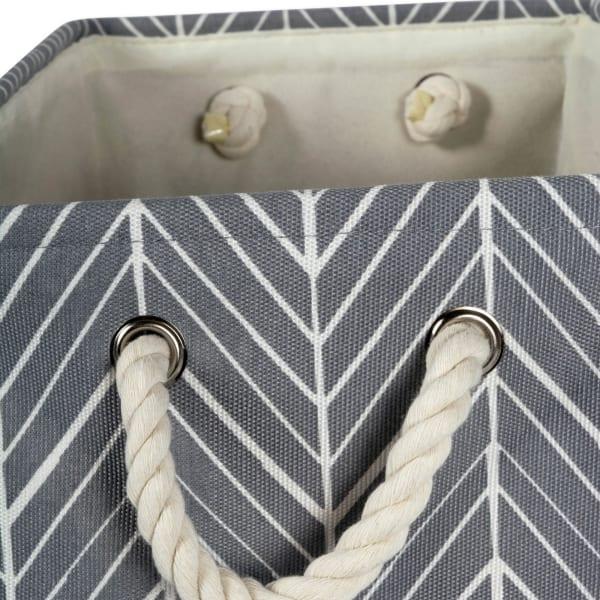 Polyester Bin Herringbone Gray Round Small 9x12x12