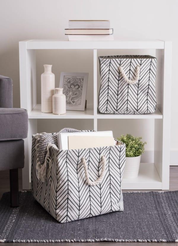 Polyester Bin Herringbone Off White Rectangle Medium 16x10x12