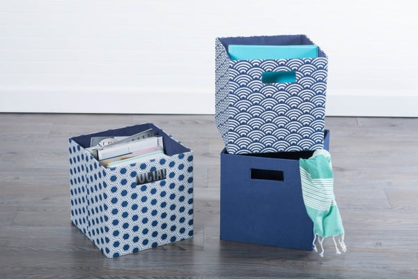 Polyester Cube Honeycomb Nautical Blue Square 13x13x13
