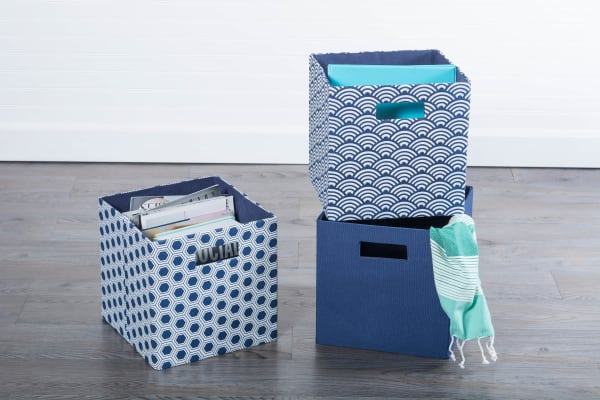 Polyester Cube Waves Nautical Blue Square 13x13x13