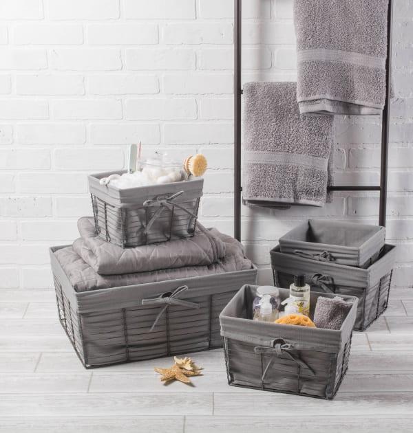 Small Vintage Grey Wire Grey Liner Basket (Set of 3)